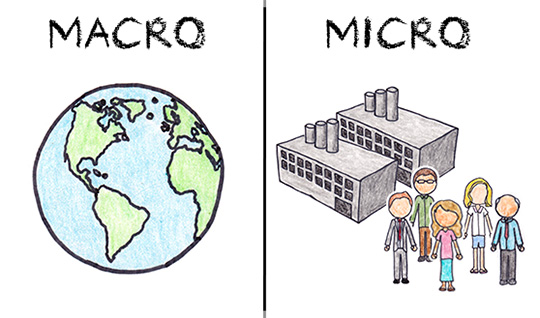 microeconomics and macroeconomics What is the difference between micro and macroeconomics - micro deals with individuals, firms and particular markets macro deals with whole economy - gdp , inflation, trade.